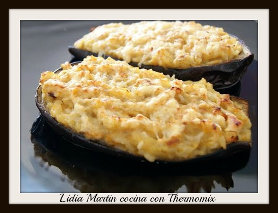 Receta de Berenjenas rellenas de couscous con champiñones con Thermomix®