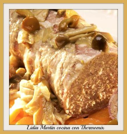 Receta de Pan de carne al vapor con verduras y salsa de champiñones con Thermomix®