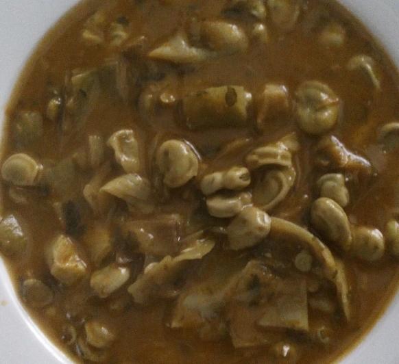 Thermomix® Cazuela de habas a la hierbabuena. Sin gluten, sin lácteos, Vegana, Vegetariana.