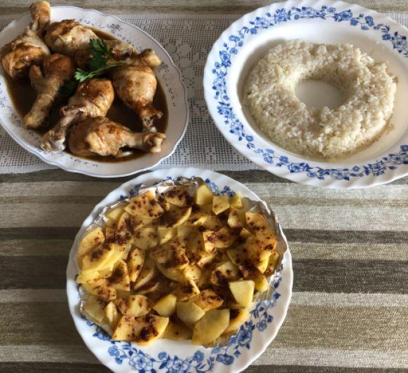 Menú completo: Pollo al ajillo, arroz blanco y manzanas asadas